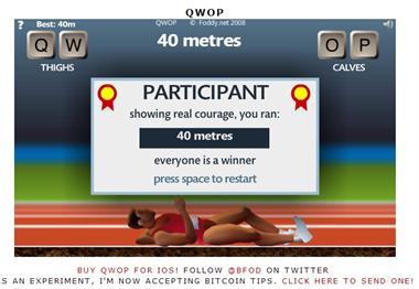 【粉多運動會】QWOP《超難跑步》,讓人玩到想翻桌! 黃 心心