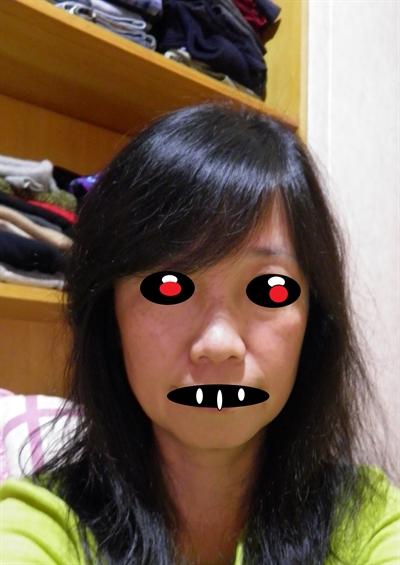 咒怨,黑瞳鬼顏自拍照 May Chen