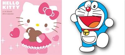 顶尖对决的动漫人物是:「xxx 跟 xxx」 ]  hello kitty 跟 多拉a梦