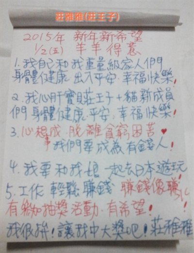 我願故我寫!2015新年新希望! 莊 王子
